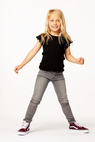 t-shirt enfant côtelé noir noir - 1000024715 - HEMA