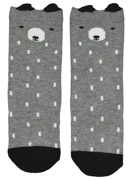 2 paires de mi-bas pour bébé gris chiné gris chiné - 1000014924 - HEMA