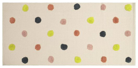 tapis de sol avec pompons 65x135 coton - 13222055 - HEMA