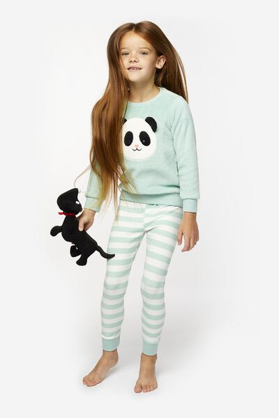 Kinder-Pyjama, Fleece, Panda hellgrün - 1000020517 - HEMA