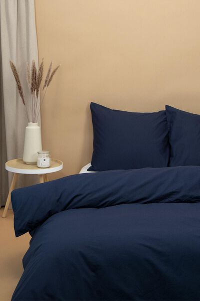 Bettwäsche, Soft Cotton, einfarbig dunkelblau dunkelblau - 1000016594 - HEMA
