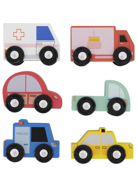 6 voitures en bois - 15190281 - HEMA
