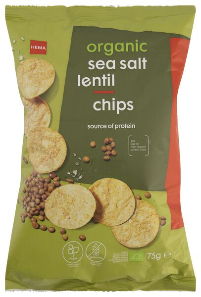 lentil crisps sea salt organic 75 grams - 10683051 - hema