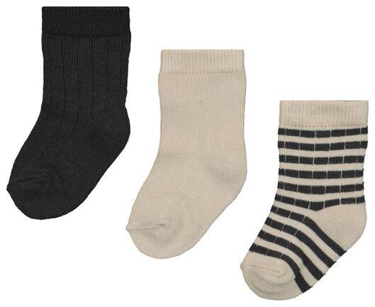 Babyaccessoires - HEMA 3er Pack Baby Socken Mit Bambus, Gerippt Grau - Onlineshop HEMA