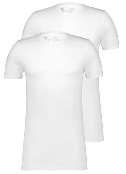HEMA 2er-Pack Herren-T-Shirts, Regular Fit, Rundhalsausschnitt, Extralang Weiß