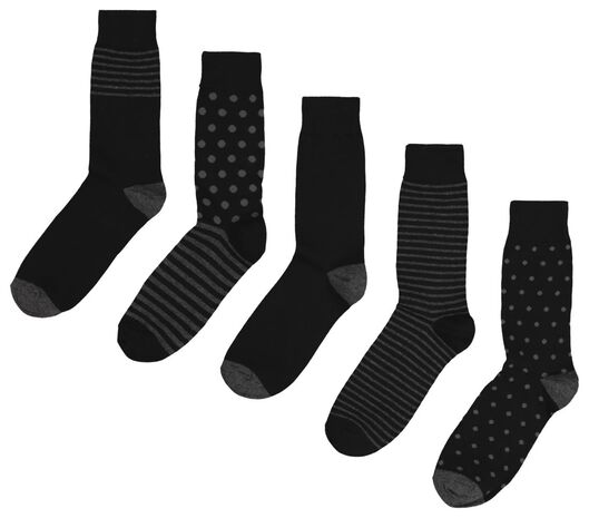 5-pack men's socks black black - 1000018850 - hema