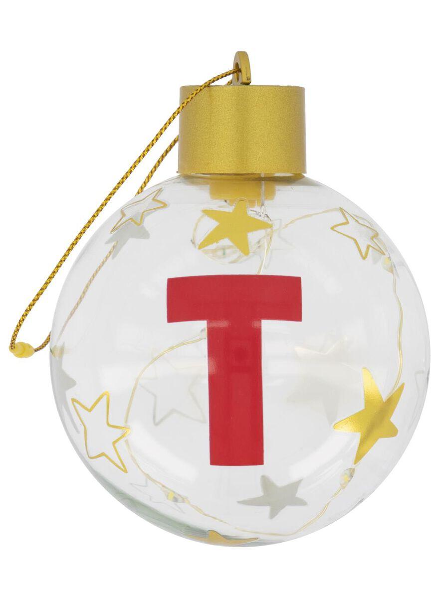 boule de Noël LED en verre Ø 8 cm lettre T - 25500059 - HEMA