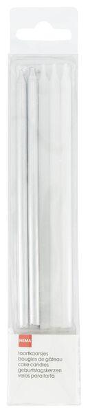 10 bougies d'anniversaire 13.5 cm - argent et blanc - 14210144 - HEMA