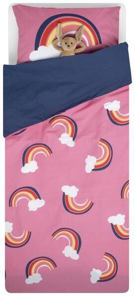 Kinder-Bettwäsche – Soft Cotton – 140 x 200 cm – rosa mit Regenbogenmuster - 5740076 - HEMA