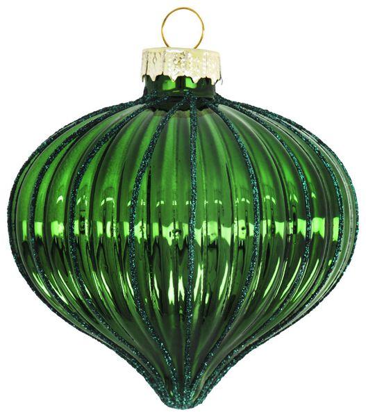 Glas-Baumschmuck, geriffelt, 8 cm, grün - 25103224 - HEMA