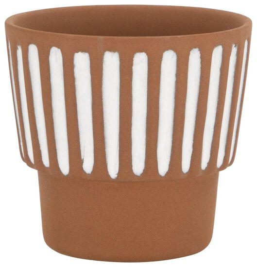 flower pot Ø7x7 terracotta stripe white 7 x 7 terra - 13311041 - hema