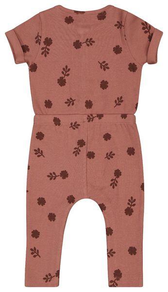 combinaison bébé côtelée fleurs rose rose - 1000024433 - HEMA
