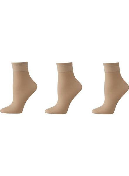 Socken für Frauen - HEMA 3 Paar Söckchen, Leicht Glänzend, 20 Denier Naturfarben  - Onlineshop HEMA