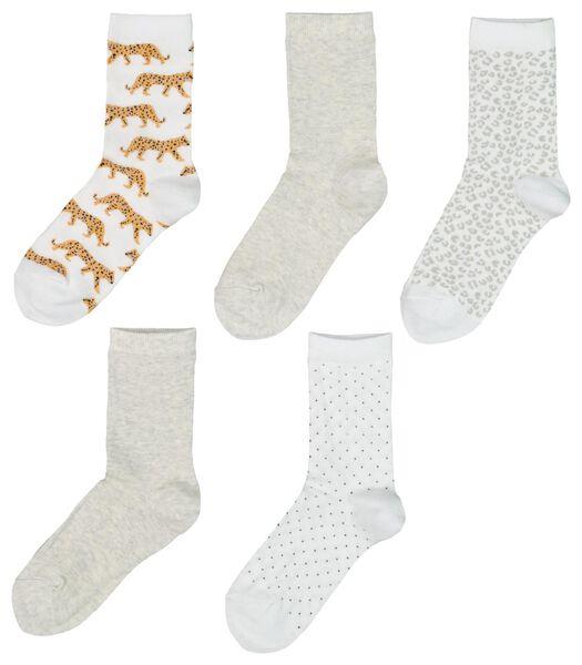 5-pack women's socks white white - 1000019855 - hema