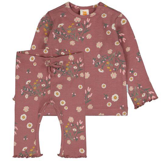 ensemble nouveau-né t-shirt et legging côtelé fleurs rose rose - 1000024485 - HEMA