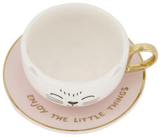 Tasse mit Untertasse, 11 cm, Keramik, Katze - 61140016 - HEMA