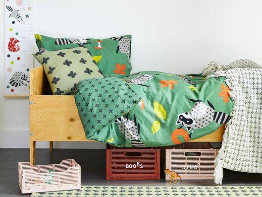 children's duvet cover soft cotton 140x200 raccoon green - 5730049 - hema