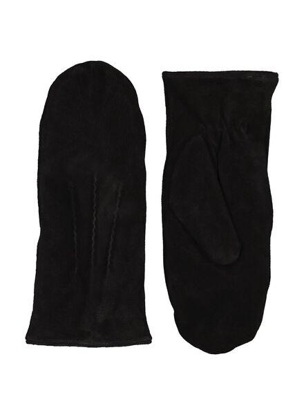 moufles pour femme en daim noir noir - 1000015109 - HEMA