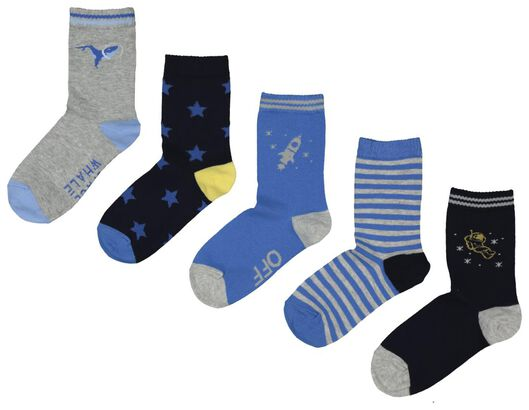 5-pack children's socks blue blue - 1000018032 - hema