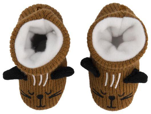 babyslofjes gebreid kat bruin bruin - 1000020515 - HEMA