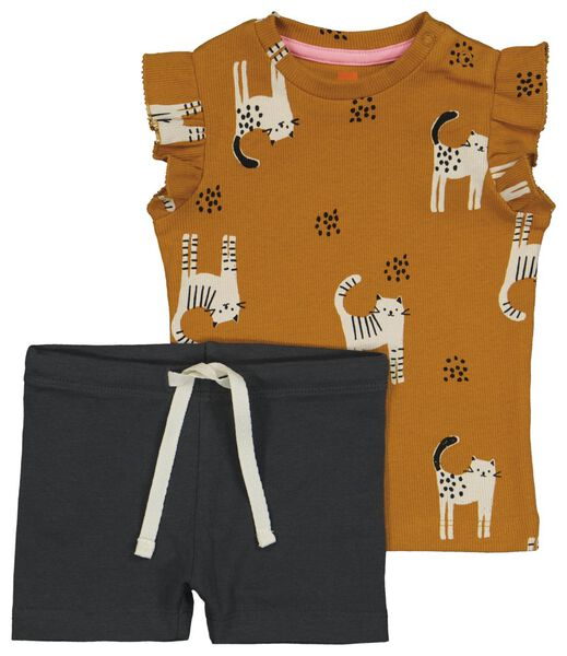 Babykleiderroecke - HEMA Baby Set, T-Shirt Mit Hose Braun - Onlineshop HEMA