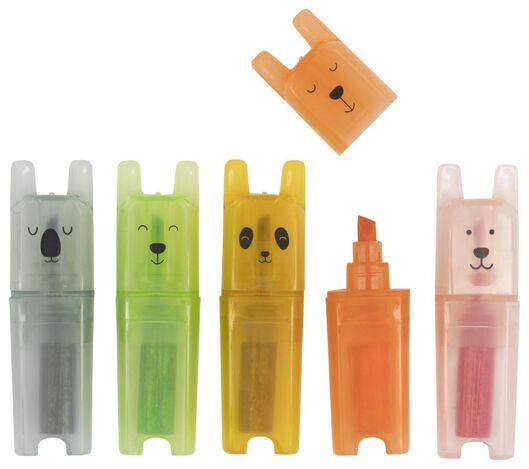 5er-Pack Mini-Textmarker, Panda - 14410021 - HEMA
