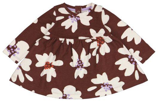 Babykleiderroecke - HEMA Baby Kleid, Blumen Braun - Onlineshop HEMA