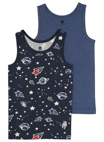 2-pack children's vests dark blue dark blue - 1000014974 - hema