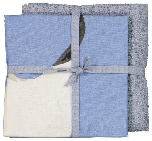 ensemble torchon et essuie-mains gris/bleu - 5400047 - HEMA