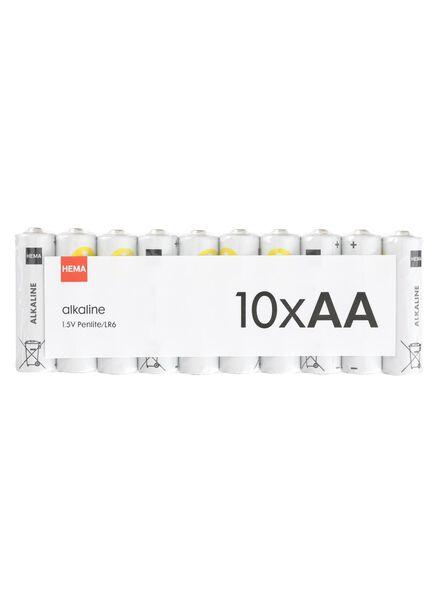 10-pak AA basis batterijen alkaline - 41290250 - HEMA