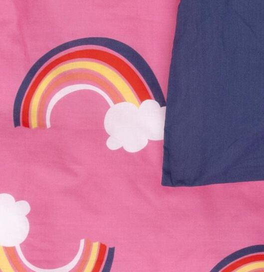 housse de couette enfant - coton doux - 140 x 200 - rose arcs-en-ciel - 5740076 - HEMA