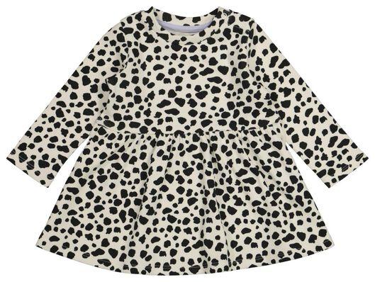 Babykleiderroecke - HEMA Baby Kleid, Gerippt, Tierfleckenmuster Eierschalenfarben - Onlineshop HEMA