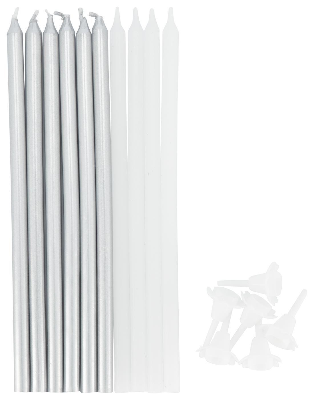 Bougies-Set Blanc 10 unités; pour par exemple anniversaire couronne