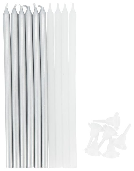 Image of HEMA 10 Cake Candles 13.5 Cm - Silver And White