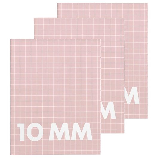 3er-Pack Hefte, rosa, DIN A5, kariert (10 x 10 mm) - 14101603 - HEMA