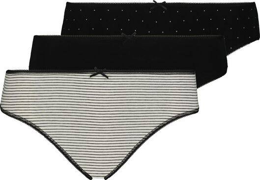 3-pack women's briefs black/white black/white - 1000018554 - hema