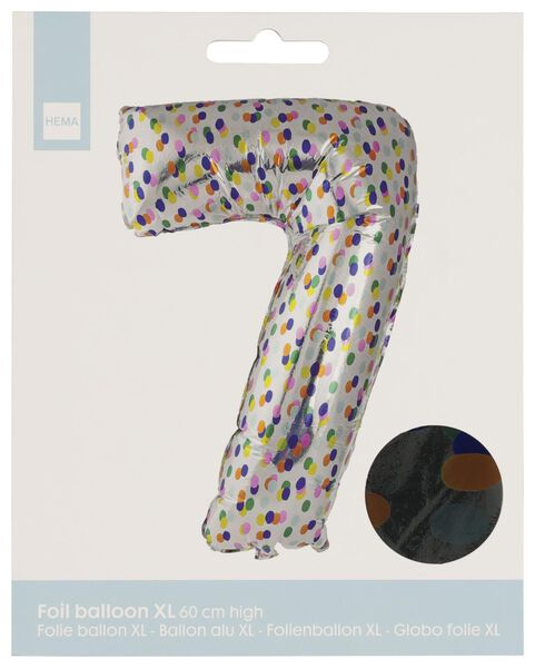 foil balloon XL number 7 - confetti silver 7 - 14230277 - hema