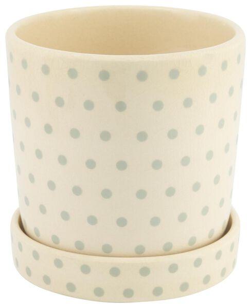 HEMA Keramik-Blumentopf - 14 Cm X Ø 13.5 Cm - Weiß Mit Grünen Punkten
