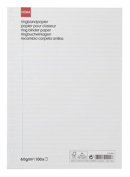 100er-Pack linierte Ringbucheinlagen, 23-Ring-Mechanik - 14122304 - HEMA