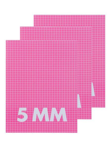 HEMA 3-pak Schriften A5 Ruit 5 Mm