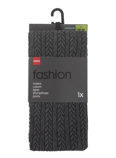 Fashion-Strumpfhose, Zopfmuster grau grau - 1000010283 - HEMA