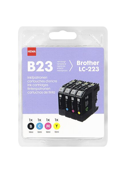 Le paquet de 4 HEMA B23 remplace la Brother LC-223 - 38399226 - HEMA