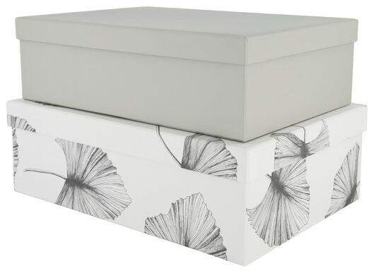 2 boîtes de rangement en carton feuilles vert - 39821124 - HEMA