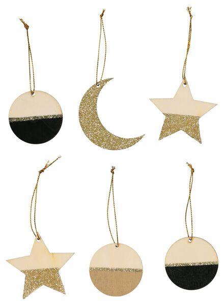 6 décorations en bois - 25100920 - HEMA