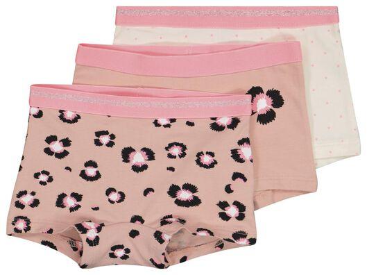 HEMA 3 Boxers Enfant Fleurs Coton/stretch Rose Pâle (rose pâle)