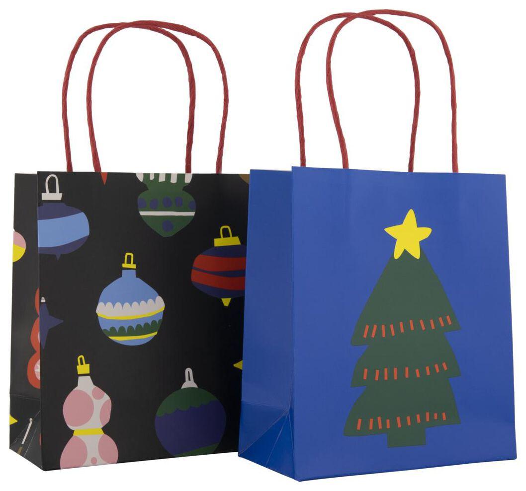 2 sacs cadeau en papier S 17x15x7 noël - 25700134 - HEMA