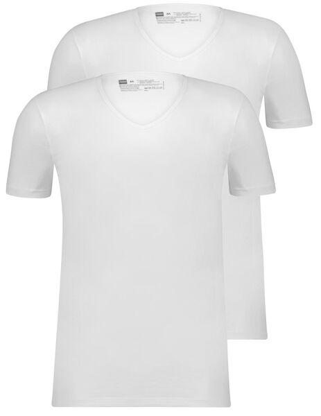 HEMA 2er-Pack Herren-T-Shirts, Slim Fit, V-Ausschnitt, Nahtlos Weiß