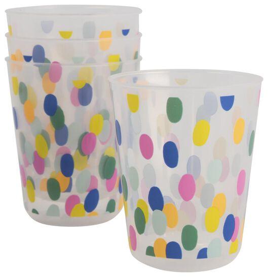4 gobelets en plastique réutilisables - Ø7.5 cm - confetti - 14200495 - HEMA