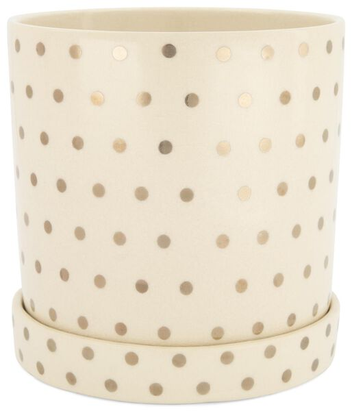 pot de fleurs Ø 17 cm - céramique - blanc/doré - 13392086 - HEMA