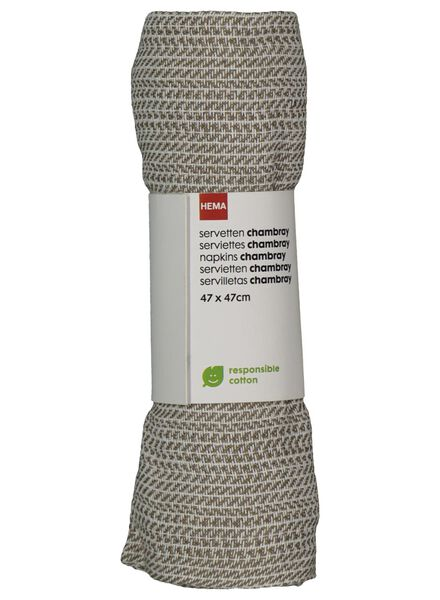 serviettes - 47 x 47 - coton chambray - blanc - 5300074 - HEMA